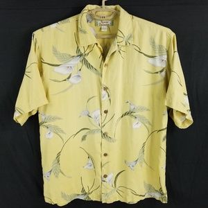 Tommy Bahama Silk Yellow Floral Hawaiian Camp